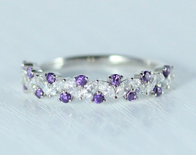 Amethyst Solid gold man made diamond Marquise and round cut half eternity ring available in Rose, yellow or white gold and platinum