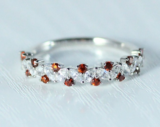 Garnet Solid gold man made diamond Marquise and round cut half eternity ring available in Rose, yellow or white gold and platinum