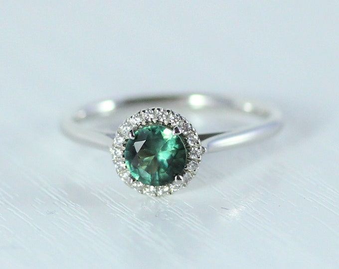 Green Sapphire & Man Made Diamond halo Engagement Ring - Available in gold, rose gold and white gold - Handmade