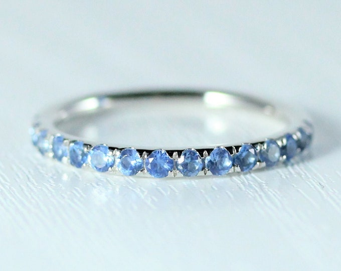 Natural Aquamarine 2.5mm wide Half Eternity ring available in gold and platinum - stacking ring - wedding band