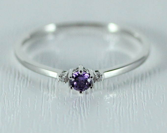 Amethyst and Moissanite Solid Gold Trilogy ring - engagement ring available in rose, white and yellow gold