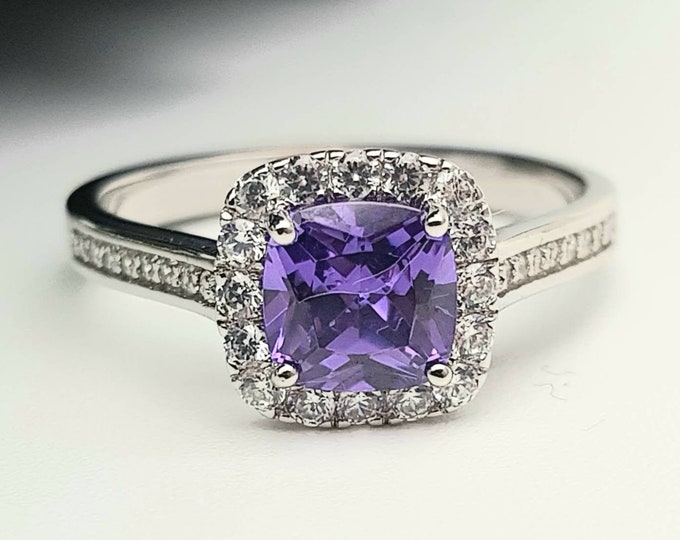Natural Tanzanite cushion cut solitaire engagement ring available in 10k, 14k, 18k Rose, yellow or white gold and platinum