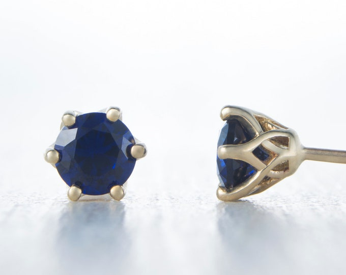 Natural Blue Sapphire Solid Yellow Gold stud earrings,  4mm or 5mm sizes