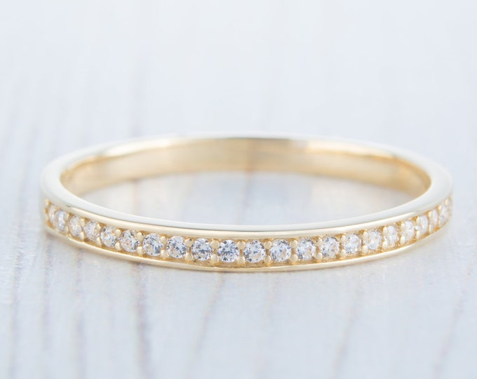 Solid Gold 2mm wide Man Made Diamond Half Eternity ring avalable in 10k, 14k, 18k yellow, rose or white gold - stacking ring - wedding band