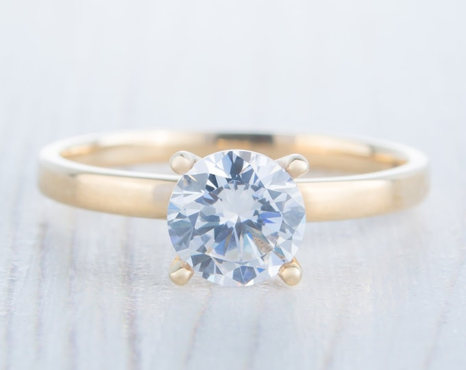 Moissanite & solid gold solitaire ring available in 10k, 14k, 18k Rose, yellow or white gold - engagement ring
