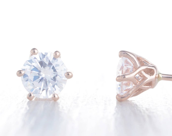 Genuine moissanite Solid Rose Gold stud earrings,  4mm, 5mm & 6mm sizes