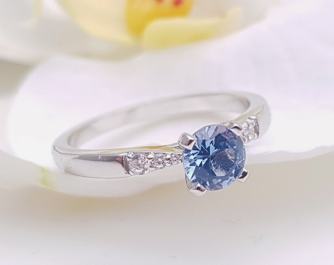 0.55ct Aquamarine solitaire ring available in 10k, 14k, 18k Rose, yellow or white gold, also platinum - engagement ring