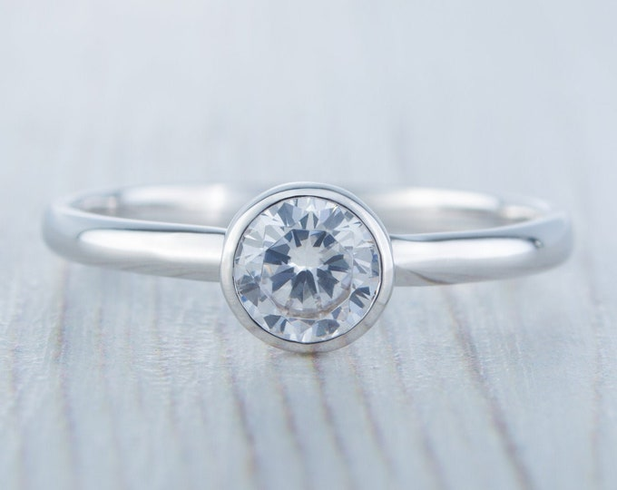 Lab White Sapphire bezel set solitaire ring - Available in white gold or sterling silver - handmade ring