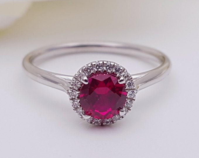 Ruby & Man Made Diamond halo Engagement Ring - Available in gold, rose gold and white gold - Handmade