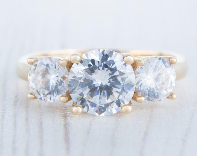 Moissanite Trilogy ring available in 10k, 14k, 18k yellow, rose, white gold - engagement ring