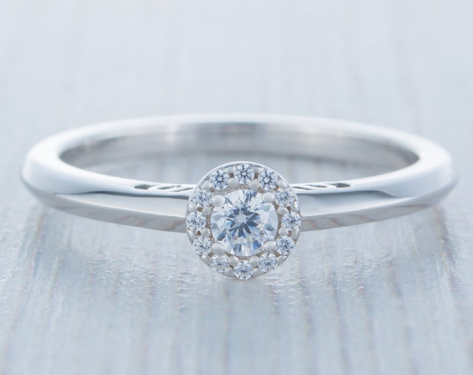 Petite Man Made Diamond Simulant halo Engagement Ring - Available in gold, rose gold and white gold - Handmade