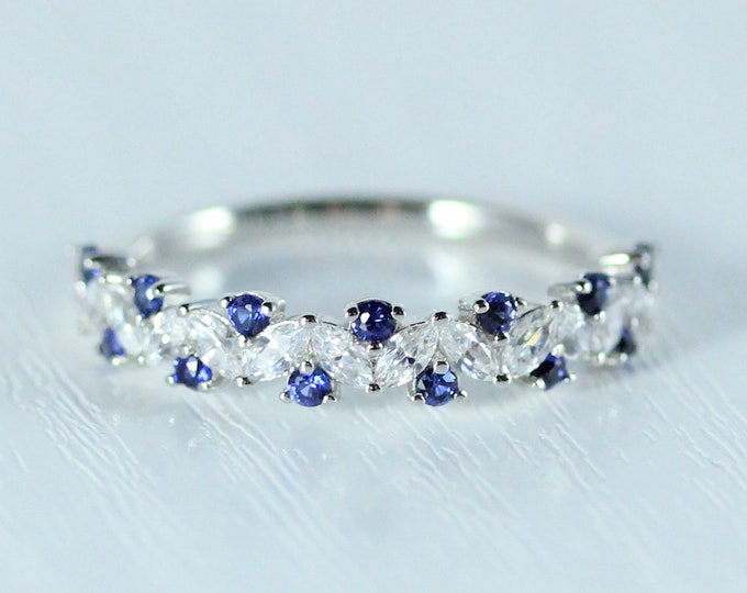 Blue Sapphire Solid gold man made diamond Marquise and round cut half eternity ring available in Rose, yellow or white gold and platinum