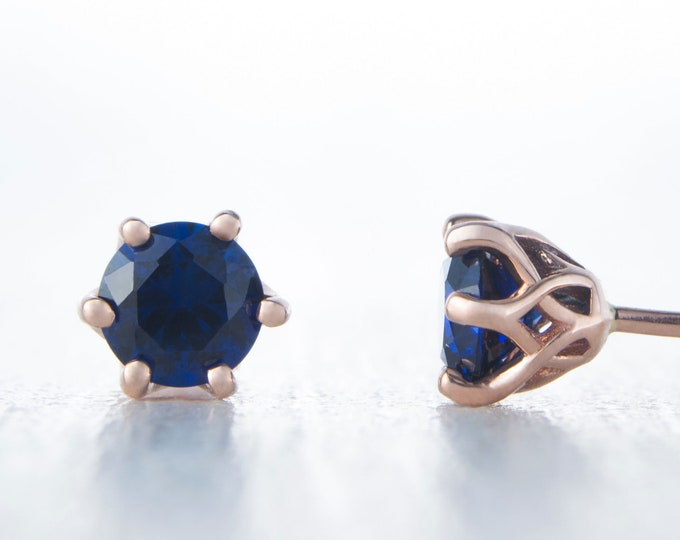 Natural Blue Sapphire Solid Rose Gold stud earrings,  4mm or 5mm sizes