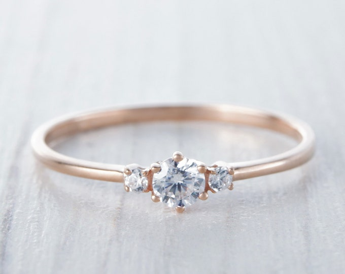 Genuine Moissanite & Solid 10K, 14K, 18K, Rose Gold Trilogy ring - engagement ring