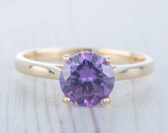 1.5ct Amethyst Solid 10K gold cathedral setting solitaire ring available in Rose, yellow or white gold - engagement ring