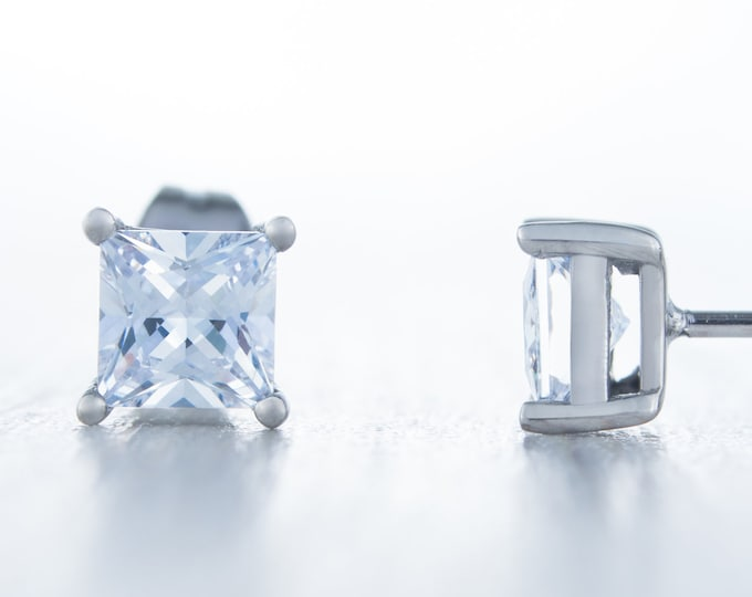 Man Made Diamond Simulant stud earrings, available in titanium, white gold and surgical steel 3mm, 4mm & 5mm sizes