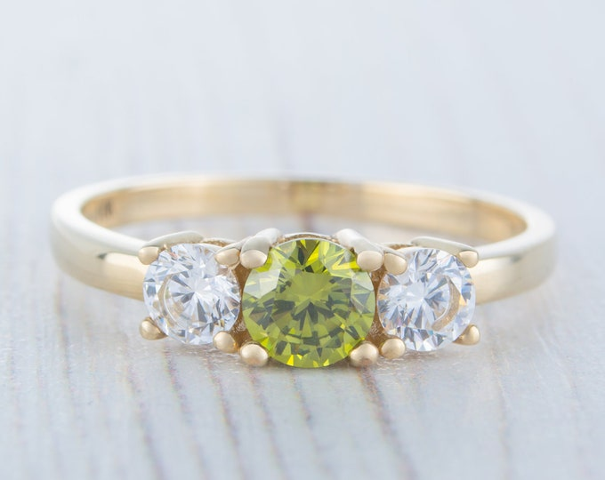 Peridot solid gold Trilogy ring with man made diamonds available in 10K, 14K, 18K, Rose, yellow or white gold - engagement ring
