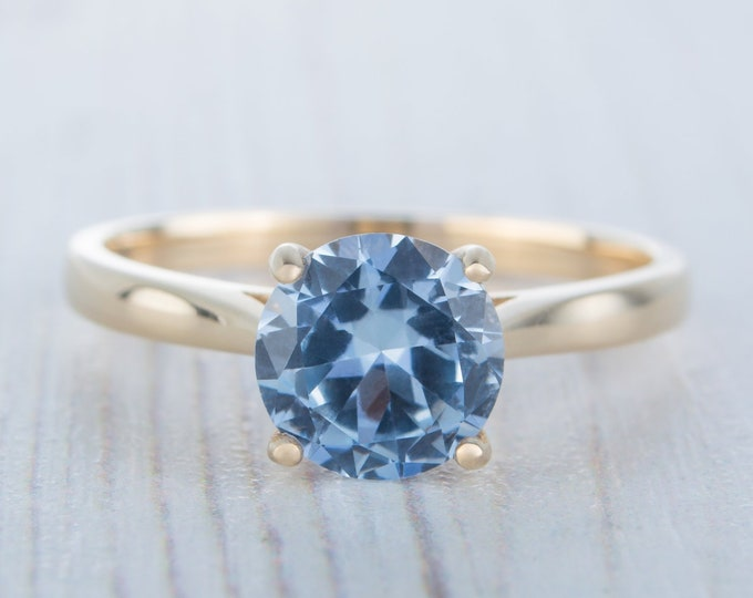 1.5ct Aquamarine Solid gold cathedral setting solitaire ring available in Rose, yellow or white gold - engagement ring