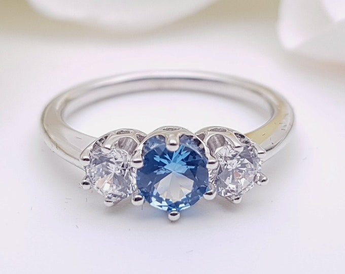 Aquamarine & Solid Gold Trilogy ring with man made diamonds ring available in 10k, 14k, 18k yellow, rose or white gold - engagement ring