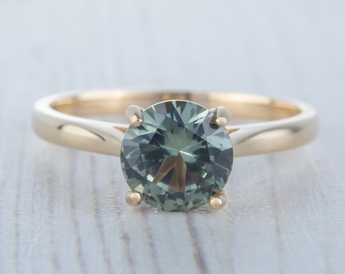 1.5ct Natural Green Sapphire Solid gold cathedral setting solitaire ring available in 10K, 14K, 18K Rose, yellow,white gold