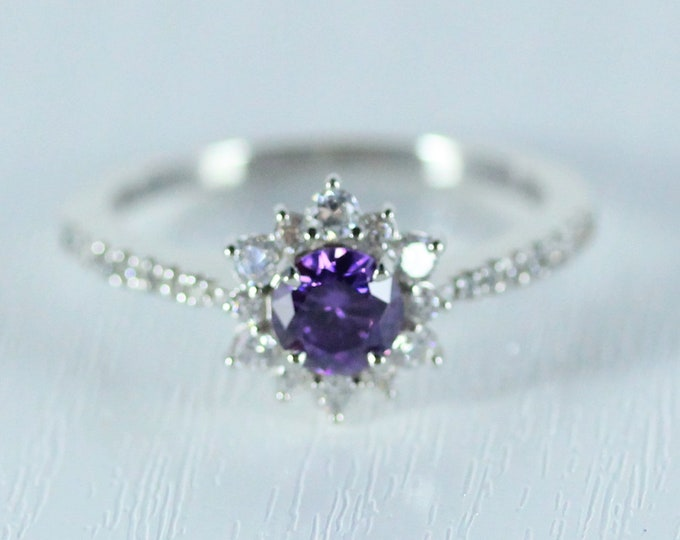 Amethyst halo solitaire engagement ring available in 10k, 14k, 18k Rose, yellow or white gold and platinum