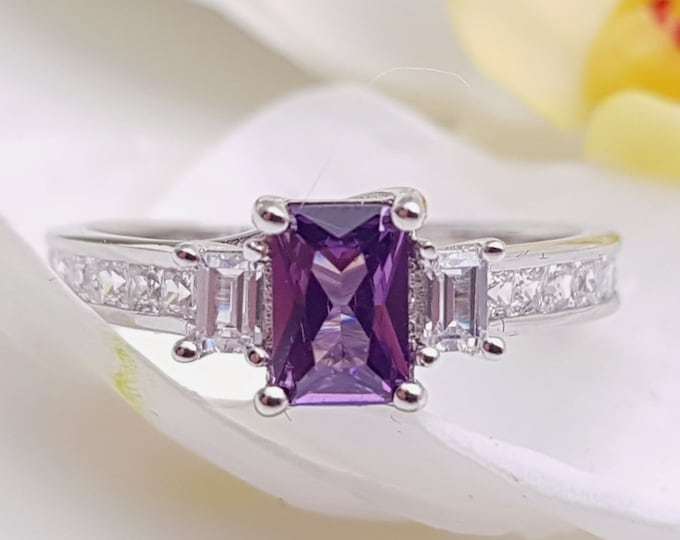 Alexandrite Solid Gold Radiant 3 stone Trilogy ring with man made diamonds - yellow, rose or white gold - engagement ring