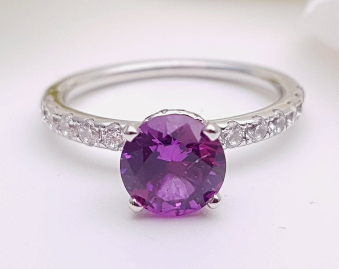 Alexandrite solitaire engagement ring with hidden halo available in 10k, 14k, 18k Rose, yellow, white gold and platinum