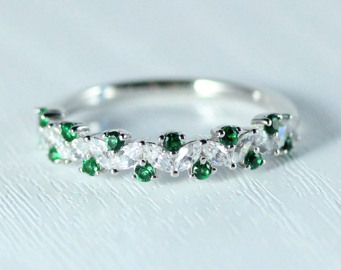 Emerald Solid gold man made diamond Marquise and round cut half eternity ring available in Rose, yellow or white gold