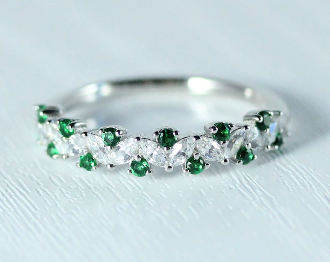 Emerald Solid gold man made diamond Marquise and round cut half eternity ring available in Rose, yellow or white gold and platinum