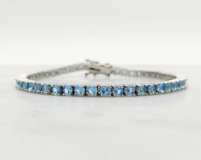 3mm natural aquamarine PURE TITANIUM tennis bracelet - different lengths available