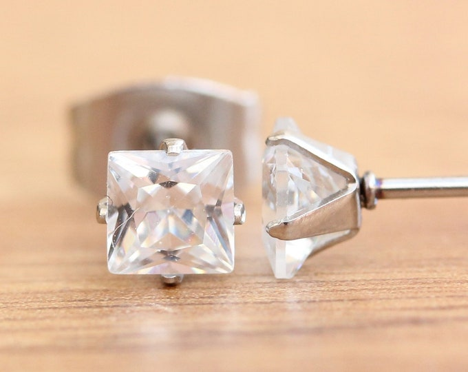 Princess cut Man Made Diamond Simulant stud earrings, available in titanium, white gold and surgical steel 3mm, 4mm or 5mm sizes