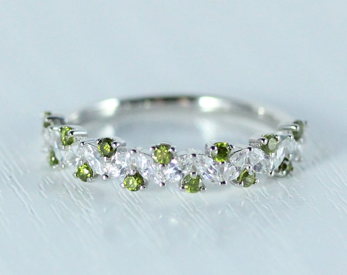 Peridot Solid gold man made diamond Marquise and round cut half eternity ring available in Rose, yellow or white gold