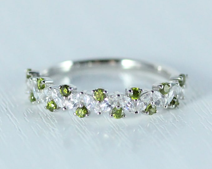 Peridot Solid gold man made diamond Marquise and round cut half eternity ring available in Rose, yellow or white gold and platinum