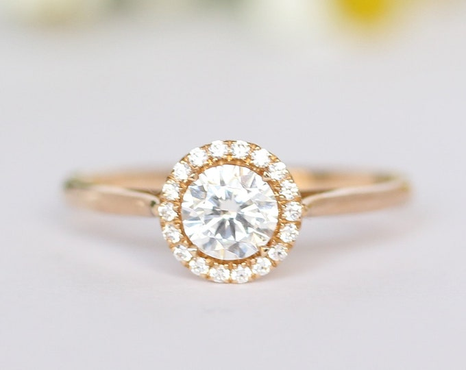 Genuine Moissanite halo Engagement Ring - Available in gold, rose gold and white gold - Handmade