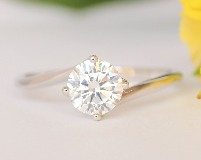 1.25ct Moissanite ring in Solid gold 10k, 14k, 18k Rose, yellow, white gold or platinum - cathedral setting engagement ring