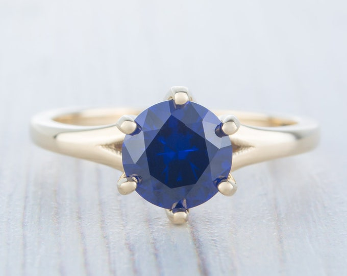 1.5ct Lab Blue Sapphire Solid gold solitaire ring available in Rose, yellow or white gold - engagement ring