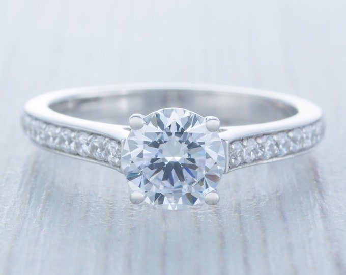 1.25ct Solid gold man made diamond solitaire ring available in 10k, 14k, 18k Rose, yellow or white gold - engagement ring