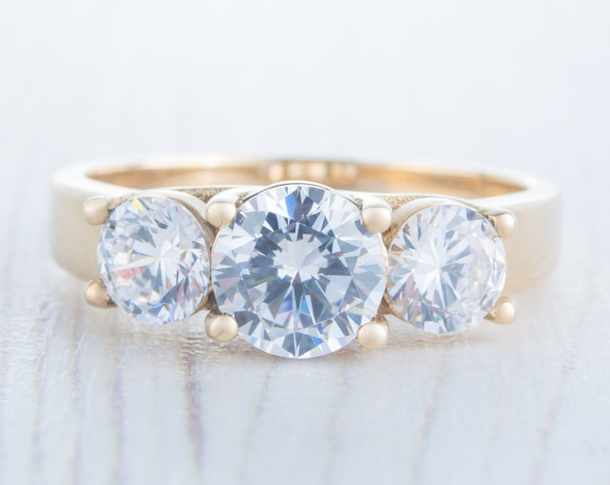 Genuine moissanite 3 stone trilogy ring in 10k, 14k, 18k yellow, rose, white gold - engagement ring