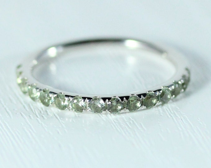 Natural Green sapphire 2.5mm wide Half Eternity ring available in gold - stacking ring - wedding band