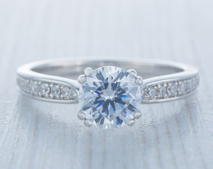 1.25ct Solid gold Moissanite solitaire ring available in 10k, 14k, 18k Rose, yellow or white gold - engagement ring