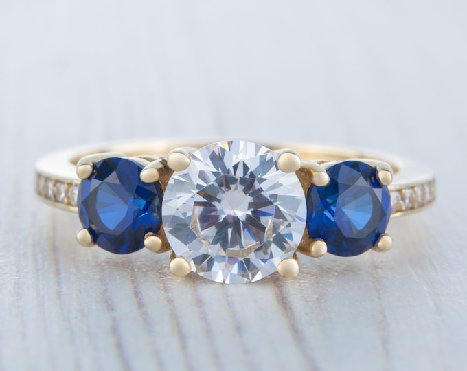 Natural blue sapphire and Man Made Diamond Trilogy Ring - available in sterling silver and white gold - engagement ring - wedding ring