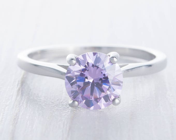 Natural 1.5ct Amethyst solitaire ring in Titanium or White Gold - engagement ring - wedding ring - handmade ring
