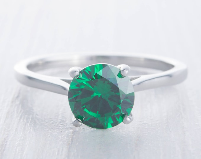 1.5ct Lab emerald cathedral solitaire ring in Titanium or White Gold - engagement ring - wedding ring - handmade ring