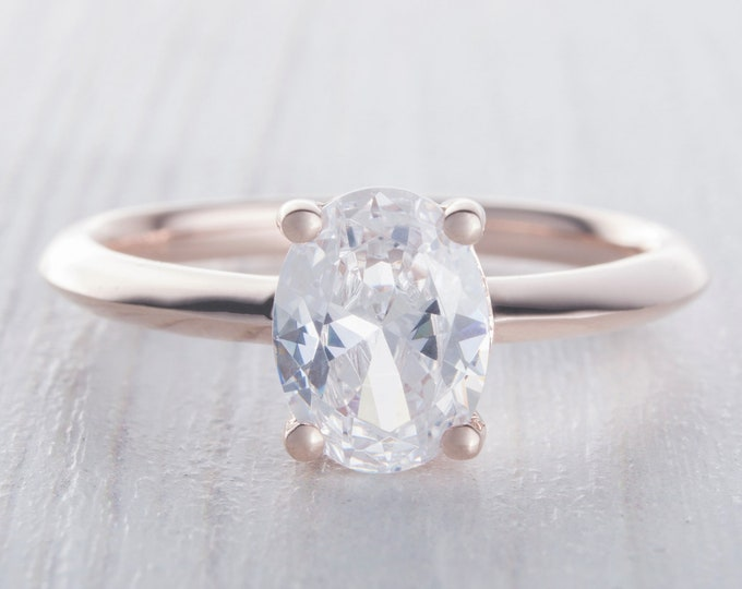 Solid gold 1.5ct Oval Man Made Diamond Simulant solitaire ring available in 10K, 14K, 18K, Rose, Yellow or White Gold - engagement ring