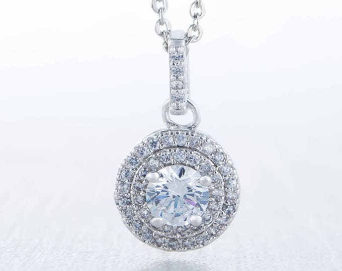 On Sale! Necklace with Halo Man Made Diamond Simulant pendant - white gold
