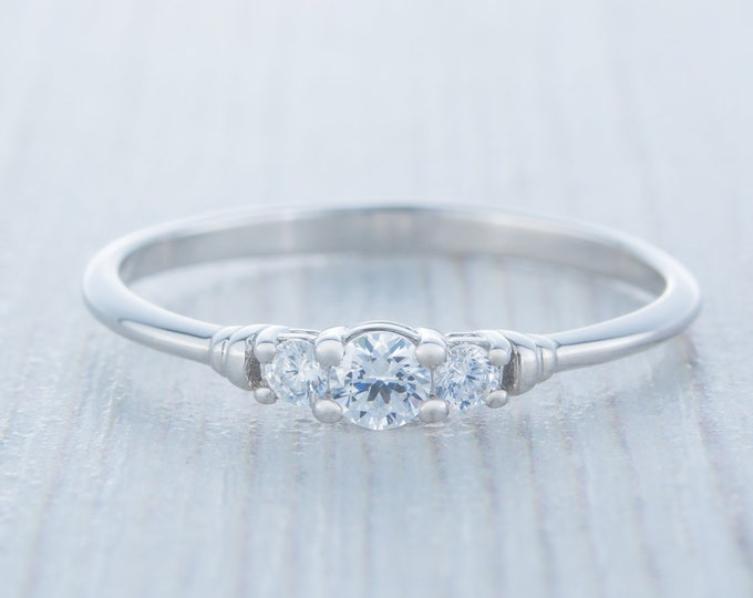 Platinum 3 stone Trilogy ring with man made diamonds ring - engagement ring
