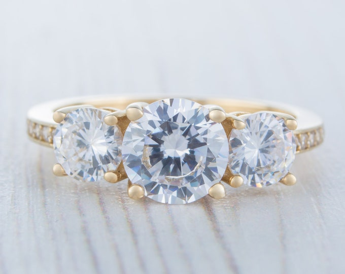 Solid Gold Trilogy ring with man made diamonds ring available in 10k, 14k, 18k yellow, rose or white gold - engagement ring