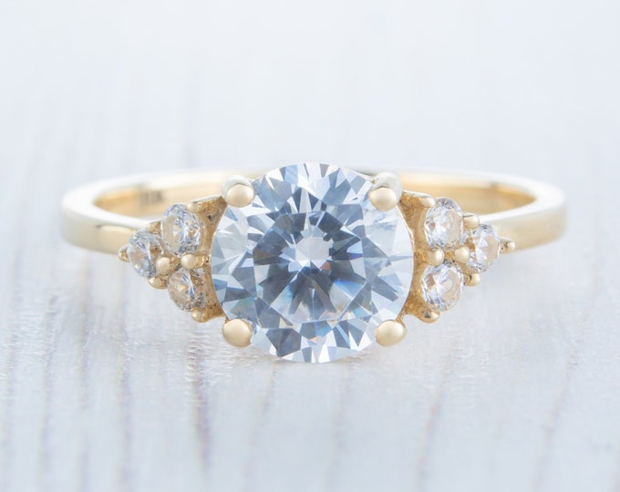 1.75ct Solid gold Moissanite Solitaire accent ring available in Rose, yellow or white gold - engagement ring