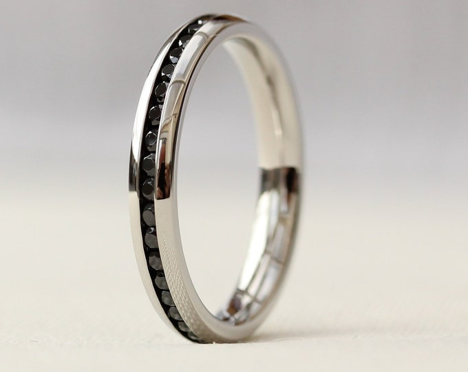 Genuine Black Diamond 3mm Wide Full Eternity ring / stacking ring in white gold or titanium - Wedding Band - Engagement ring