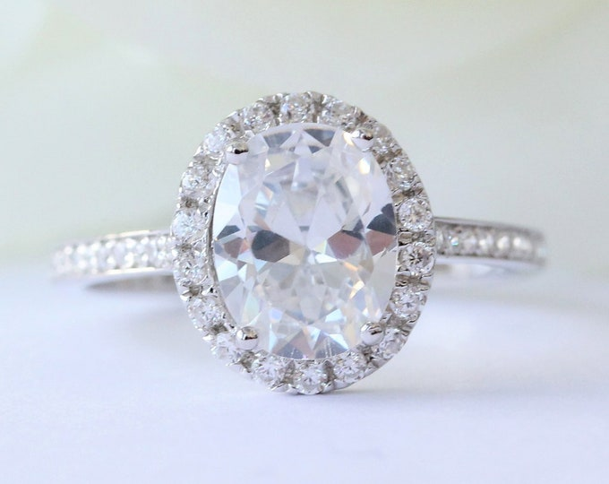 Oval Halo 1.7ct Solid gold Man made diamond simulant solitaire ring available in 10k, 14k, 18k Rose, yellow or white gold